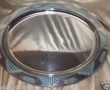 "WILTON ARMETALE ZIA OVAL SERVING PLATTER 19 1/2"" TURQUOISE MADE IN USA"