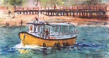 """Boat. Santa Barbara Original Painting in Watercolor 6"""" x 11"""""""