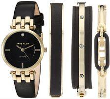 Anne Klein Watch * 2684BKST Diamond Accent Gold Steel Black Leather Set Women