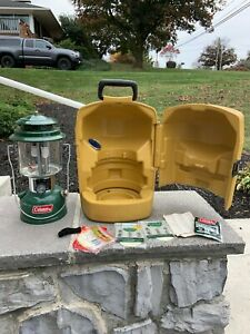 vintage coleman lantern with all you see case funnel mantles 8/74