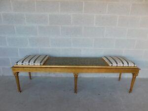 "Quality Louis XVI Style Gilt Frame Settee Window Bench 72""W"