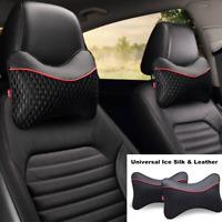 2xBreathable Leather+Ice Silk Car Headrest Neck Cushion Cervical Support Pillows