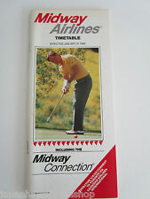Midway Airlines Airline Timetable Flight Schedule Flugplan Horaire JAN 1989 時刻表