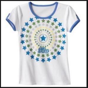 FILA SPORT Girls Tee T-shirt Aqua Blue White NWT XS 7 M 10 Top Glitter Star