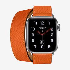 2018 Apple Watch Series 4 Hermes 40mm Feu Epsom Orange Leather Double Tour BNIB