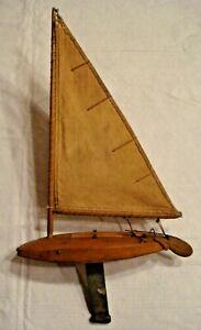 Vintage Antique Handmade Wooden Sailboat Sailing  Folk Art Boat