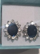 Kate Middleton Simulated Sapphire & CZ earrings #3-10