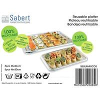 Sabert Rectangular Mix Large Party Serving Platters - Pack of 10 Trays