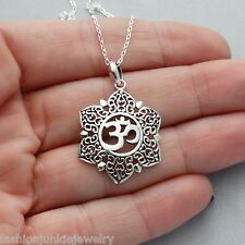 Flower Om Necklace - 925 Sterling Silver - *NEW* Namaste Yoga Jewelry Ohm Symbol