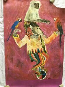 Brian Wildsmith Vintage Circus Of Colour Poster- Purple, Monkey & Parrots