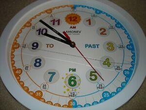 Educational Wall Clock - Silent Movement Time Teaching Clock for Teacher's Class