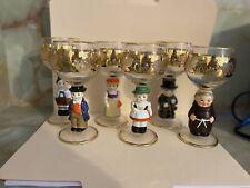 6 Hummel, Goebel & Bocing Figural Stem Wine Glasses West Germany Boys Girls