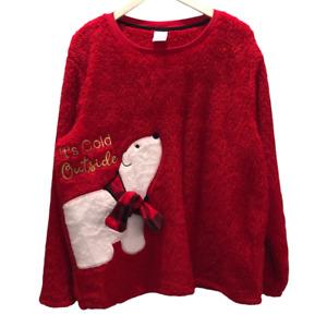 Secret Treasures Womens Fleece Pajama Top Plush Polar Bear Red Crew Neck Plus 2X