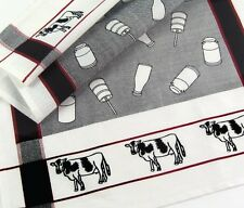 Cow Kitchen Towel | Dairy Farm | Cotton | White Black Red | Pictorial