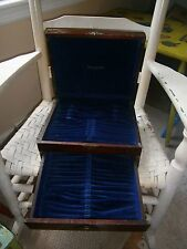 "Antique Dark Wood 1847 Rogers Bros. Silverware Box 11 1/4"" long 9.5"" W 5 1/4"" T"