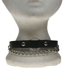 Gothic Punk 1 Row Hanging chain w/20mm Ring w/Leather Pieces Neckband NB278