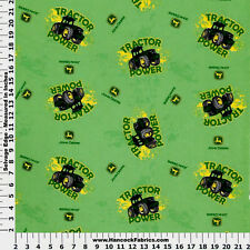 JOHN DEERE KICK UP YOUR WHEELS 100% COTTON FLANNEL FABRIC  BY THE 1/2 YARD