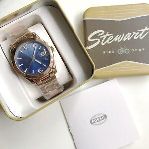 Fossil Watch * ES3780 Perfect Boyfriend Blue & Rose Gold Steel Women COD PayPal