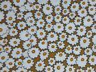 Vtg Cotton Fabric Brown W/ White MOD Daisies 36' x 41'