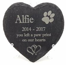 More details for personalised engraved natural slate heart,memorial plaque,15 images,grave marker