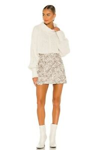 Free People Printed Fake Out Mini Wrap Skirt BNWT Size Xs RRP £85 Cream & Brown