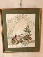 """Vintage Painting Watercolor By """"Emma Lou Martin"""" 28X32"""" C2pix4details.MAKE OFFER"""