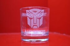 Laser Engraved Tumbler Glass Transformers Autobots Logo