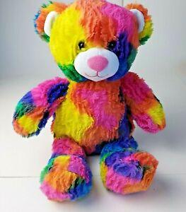 "Build A Bear Plush Rainbow Multi Colored Tie Dye 18"" Teddy Bear Stuffed Animal"