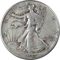 1941 50c Liberty Walking Silver Half Dollar US Coin F Fine
