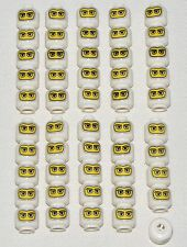 LEGO LOT OF 50 NEW WHITE MINIFIGURE HEADS WITH YELLOW MASK RACE CAR DRIVER