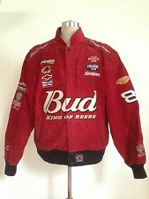 JEFF HAMILTON DALE EARNHARDT RED SUEDE BUDWEISER RACING JACKET MEN'S LARGE