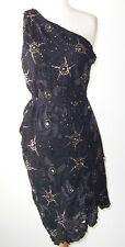 ROBERTO CAVALLI Black Silk Sequin Floral Beaded Jeweled One Shoulder Dress 42 6