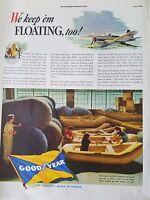 1942 Goodyear Floating Life Boats Aircraft Plane Original Ad