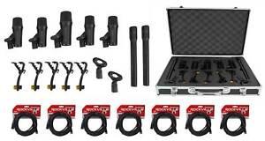 Rockville PRO-D7 KIT 7 Drum Mics w/Kick+Snare+Pencil Microphones+XLR Cables