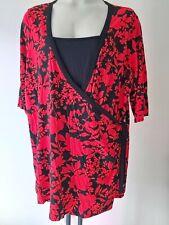 Ladies WRAP TOP size 28 plus size RED black smart wardrobe NEW -  FREE POST