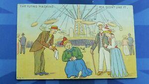 Vintage Comic Postcard 1905 Funfair Fairground Showground THE FLYING MACHINE