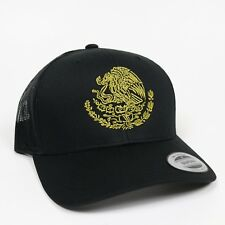 Gorra Escudo MX Mexico Snap Back Trucker Hat Visera Clasica Black Adjustable