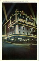 Vtg 1920's Chinese Restaurant at Night in San Francisco California CA Postcard