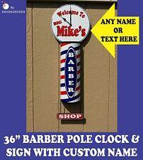 CUSTOM BARBER SHOP POLE, SIGN,  WITH CUSTOM CLOCK, salon, barbershop, haircut