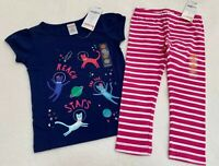 NEW! Gymboree Girls Outfit 2T Astronaut Kitty Cats T-shirt Pink Striped Leggings