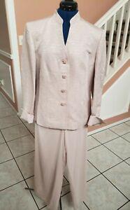 TALBOTS Pink 2pc Fancy Button Blazer 100% Silk Pant Suit Set Sz 10 - BEAUTIFUL!