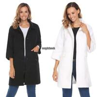 Women 3/4 Sleeve Single Breasted Wool Blend Long Button Up Coat RLWH