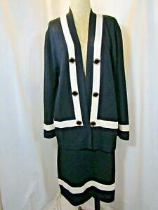ST JOHN Collection by Marie Gray Santana Knit Skirt & Open Jacket Set Size 8