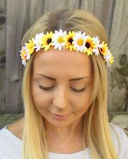 Yellow White Daisy Sunflower Flower Garland Headband Hair Crown Festival 1913