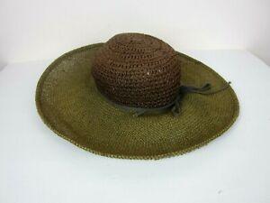Vtg GAP Women's M/L Raffia Woven Straw Sun Hat Brimmed Crushable EUC Vintage