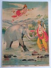 INDIA VINTAGE HINDU GODS RAJA RAVI VARMA PRINT-GAJENDRAMOKSHA /10X14 INCH