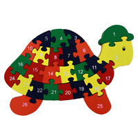 Tortoise Wooden Alphabet IQ Jigsaw Intelligent Brain Teaser Puzzle Baby Kid Toy