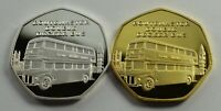 Pair of ROUTEMASTER RED 'DOUBLE DECKER' BUS Silver & 24ct Gold Commemoratives