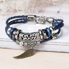 Leather braided metal stud ANGEL WING Men's woman's wristband surfer bracelet