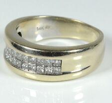 14K GORGEOUS YELLOW GOLD INVISIBLE CUT PRINCESS CUTS DIAMOND RING 1.3 CARATS